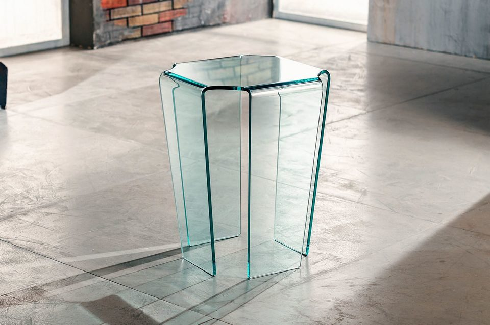 Fjord - Imago Factory - Tavolino in vetro curvato 40x40 H55cm