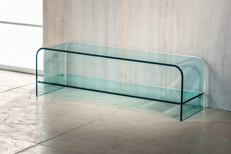 Dettagli su IMAGO FACTORY NET Tavolino Porta TV in Vetro Curvato