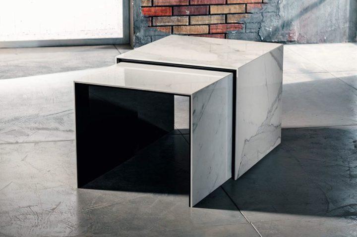 La ceramica laminata per il tavolino da salotto di Imago Factory Doble: il ritratto
