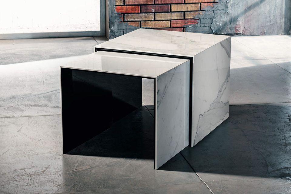 Tavolino Da Salotto In Marmo.Doble Imago Factory Tavolini In Ceramica Laminata 48x48 H40cm