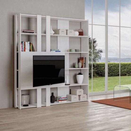 Itamoby, Libreria e Porta TV a Parete Legno Kato M con 6 Ripiani 5  Scompartimenti Bianco Frassino Arredamento Moderno Ufficio Soggiorno Cucina  L.178 ...