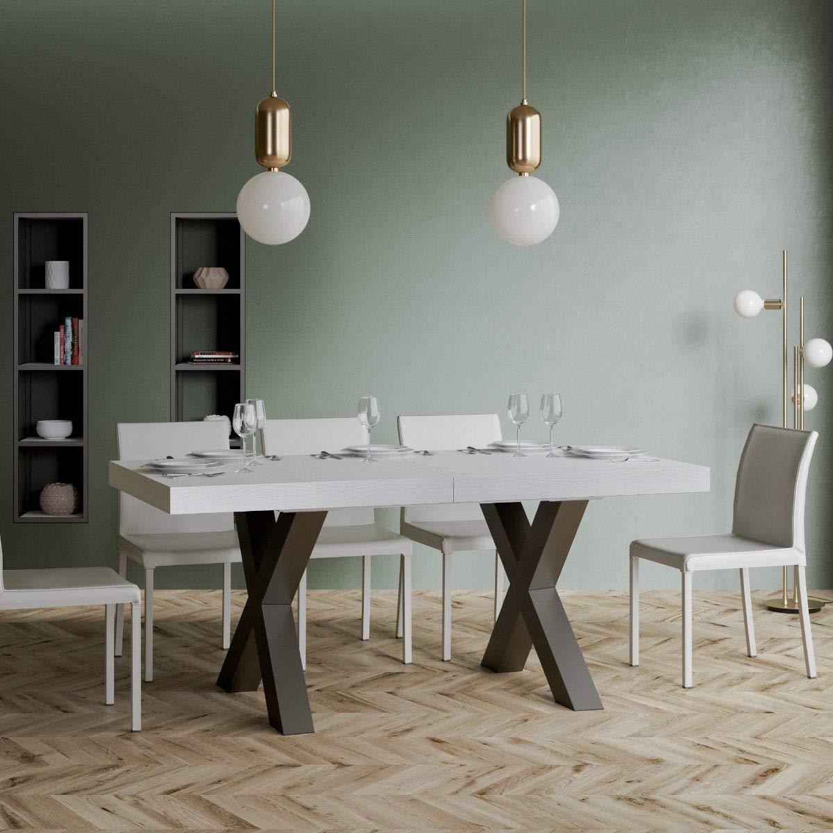 Tavolo Bianco In Legno itamoby, tavolo allungabile traffic 160->420 cm, legno in bianco frassino e  telaio in antracite l.160 p.90 h.77 (allungabile fino a l.420 con cinque